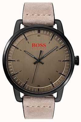 Hugo Boss Orange Bracelet en cuir suédé pour homme Stockholm, étui ip plaqué noir 1550073
