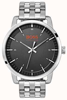 Hugo Boss Orange Bracelet en acier inoxydable argenté cadran noir des hommes de Stockholm 1550075