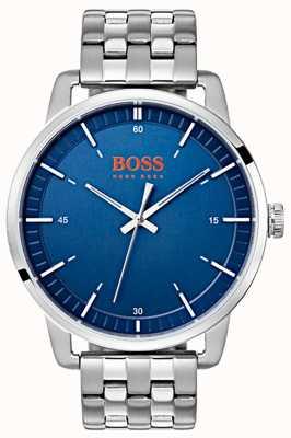 Hugo Boss Orange Bracelet homme en acier inoxydable argenté cadran bleu Stockholm 1550076