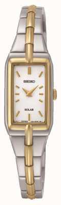 Seiko Rectangle solaire des femmes cadran deux tons bracelet SUP272P9