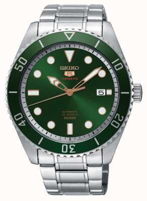 Seiko 5 cadran vert et lunette sport affichage automatique de la date SRPB93K1