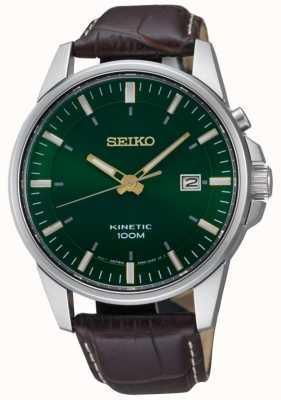 Seiko Cadran vert cinétique pour homme avec bracelet en cuir marron SKA753P1
