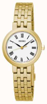 Seiko Bracelet homme en quartz blanc avec chiffres romains et bracelet en or jaune SRZ464P1