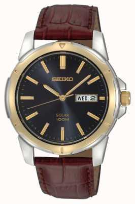 Seiko Bracelet solaire en cuir avec date et date pour homme SNE102P9