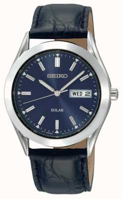 Seiko Boîtier solaire en acier inoxydable pour homme, cadran bleu, bracelet en cuir SNE049P9