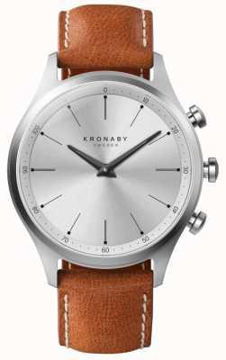Kronaby Cadran argenté 41mm sekel cadran en cuir marron A1000-3125