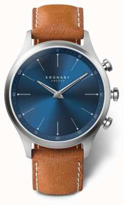 Kronaby Bracelet cuir marron cadran bleu 41 mm a1000-3124 S3124/1