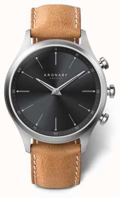 Kronaby Cadran noir 41mm sekel bracelet en cuir marron A1000-3123