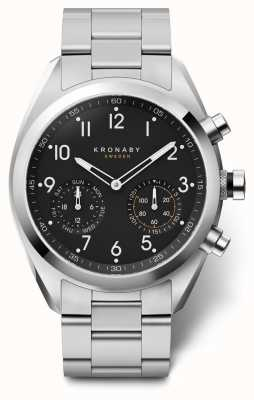 Kronaby 43mm apex cadran noir bracelet en acier inoxydable A1000-3111