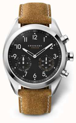 Kronaby 43mm apex cadran noir bracelet en daim marron A1000-3112