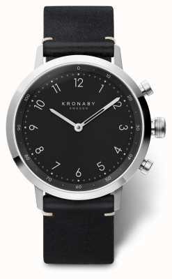 Kronaby 41mm nord bracelet en cuir noir boîtier en acier inoxydable A1000-3126