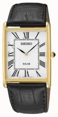 Seiko Cadran rectangle pour homme, chiffres romains, boîtier en or SUP880P1