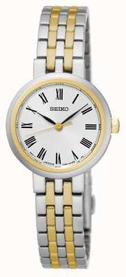 Seiko Cadran blanc chiffres romains deux tons bracelet et boîtier SRZ462P1
