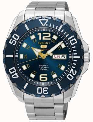 Seiko 5 date de sport des hommes et affichage du jour bleu cadran en acier inoxydable SRPB37K1
