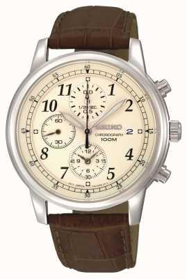 Seiko Cadran crème pour hommes chronographe date fenêtre bracelet en cuir SNDC31P1