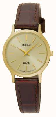 Seiko Cadran solaire en or et bracelet en cuir marron SUP302P1