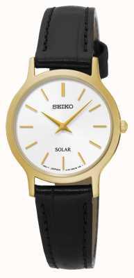 Seiko Cadran blanc solaire en or jaune acier inoxydable en cuir noir SUP300P1