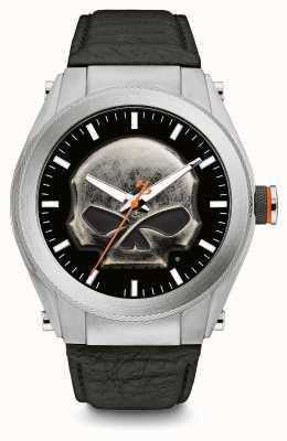 Harley Davidson Crâne en métal lourd, cadran épais, bracelet en cuir noir 76A156