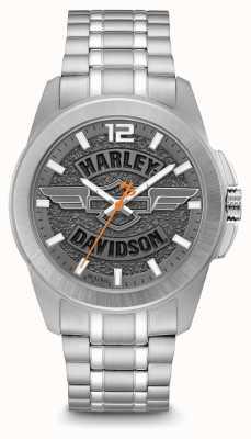 Harley Davidson Logo d'impression cadran argent boîtier et bracelet en acier inoxydable 76A157