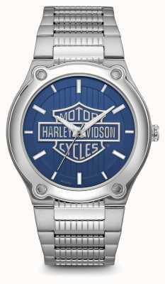 Harley Davidson Bracelet en acier inoxydable à cadran bleu imprimé logo 76A159