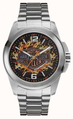 Harley Davidson Boîtier et bracelet en acier inoxydable avec logo gravé Flaming 76A147