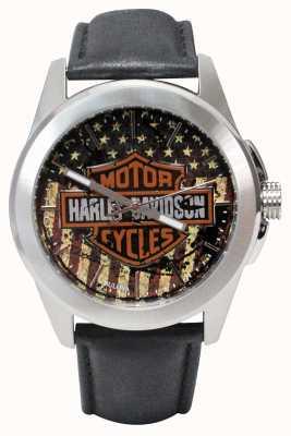 Harley Davidson Drapeau américain imprimé logo cadran en acier inoxydable boîtier en cuir 76A153