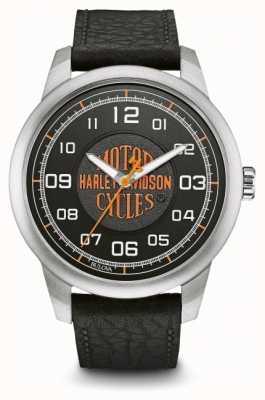 Harley Davidson Orange logo cadran noir boîtier en acier inoxydable cuir noir 76A155