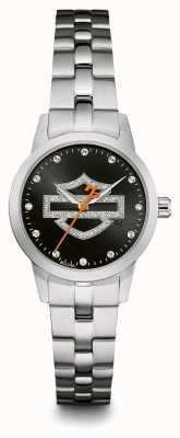 Harley Davidson Bracelet en acier inoxydable à cadran avec logo noir 76L182