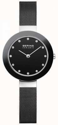 Bering Cristal ensemble cadran lunette en céramique bracelet en maille noire 11429-102