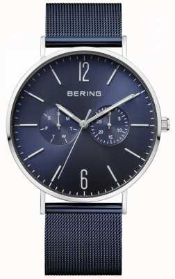 Bering Cadran bleu classique bleu bracelet en maille jour et date affichage 14240-307