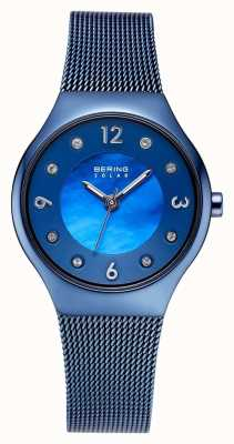 Bering Ensemble de cristaux avec cadran bleu poli et bracelet en maille bleu 14427-393