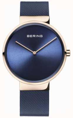 Bering Cadran bleu classique boitier en or rose bracelet en maille ip plaqué bleu 14539-367