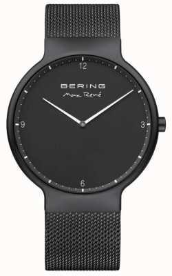 Bering Max rené cadran noir marqueurs blancs bracelet en maille ip plaqué noir 15540-123