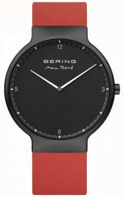 Bering Max rené noir ip plaqué bracelet en silicone rouge 15540-523