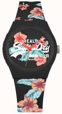 Superdry Bracelet urbain en silicone imprimé floral noir pour femme SYL160BO