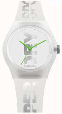 Superdry Étui en silicone blanc pour femme et bracelet en vert citron SYL189WE