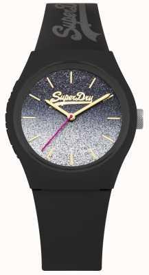 Superdry Étui et bracelet en silicone noir à cadran pailleté pour femme SYL179B