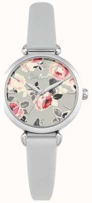 Cath Kidston Cadran imprimé fleuri pour femme, boîtier en acier inoxydable, bracelet en cuir CKL047ES
