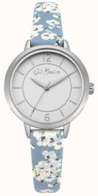 Cath Kidston Bracelet en cuir à imprimé floral pour femme en acier inoxydable argenté CKL046US