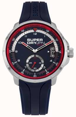 Superdry Montre-bracelet pour homme avec cadran bleu, bracelet en silicone bleu SYG217U