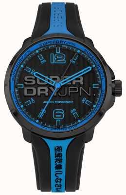Superdry Bracelet en silicone noir et bleu kyoto pour homme SYG216BU