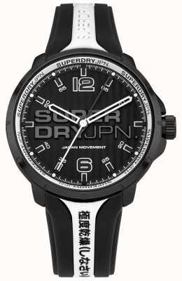 Superdry Bracelet en silicone kyoto noir et blanc pour homme SYG216BW