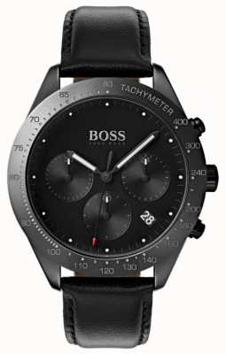 BOSS Chronographe Talent Cadran noir Affichage de la date Cuir noir 1513590