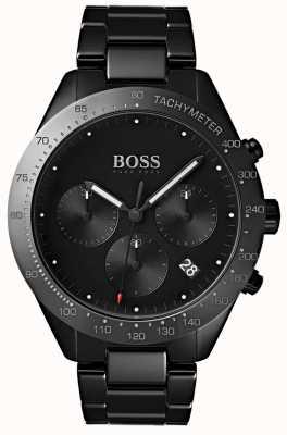 Hugo Boss Mens talent cadran noir date affichage noir ip plaqué bracelet 1513581
