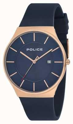 Police Mens new horizon montre silicone sangle bleu 15045JBCR/03P