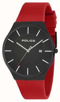Police Mens new horizon montre silicone sangle rouge 15045JBCB/02PB