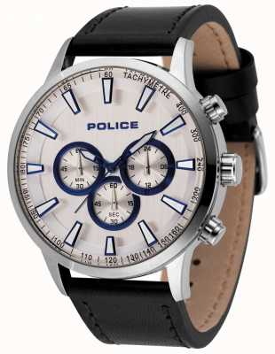 Police Montre chronographe à impulsion de moment en cuir noir 15000JS/04