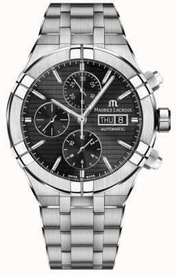 Maurice Lacroix Montre chronographe automatique Aikon en acier inoxydable à cadran noir AI6038-SS002-330-1