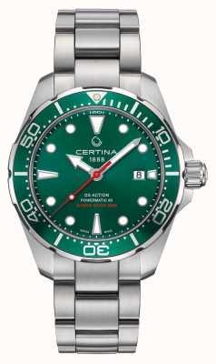 Certina Montre en acier inoxydable avec cadran vert / lunette en acier action Ds Action C0324071109100