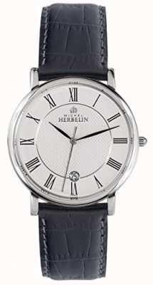 Michel Herbelin Bracelet classique noir en cuir noir pour homme 12248/08